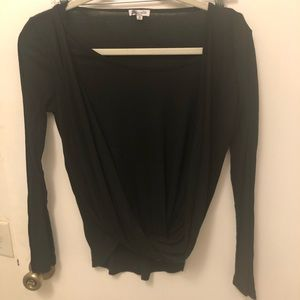 Black cotton ribbed long sleeved tee